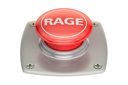 rage: Rage Red Button, 3D rendering isolated on white background