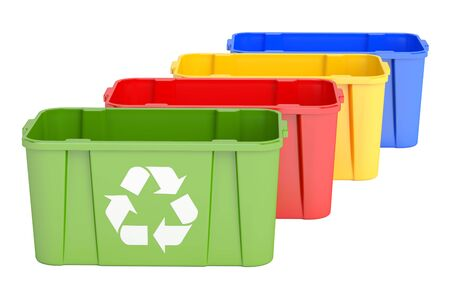 Colored recycling bins, 3D rendering isolated on white background