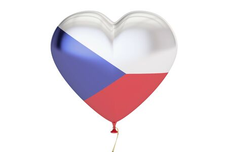 Constitución: balloon with Czech Republic flag in the shape of heart, 3D rendering