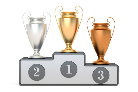 Golden, silver and bronze trophy cups on pedestal, 3D rendering isolated on white background Stock Photo