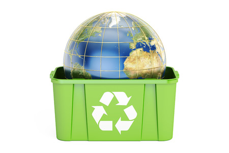 recycling bin with Earth, 3D rendering isolated on white background Stock Photo