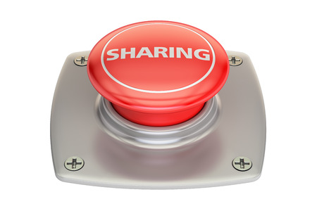 red button: Sharing Red Button, 3D rendering isolated on white background