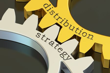 strategical: distribution strategy concept on the gearwheels, 3D rendering