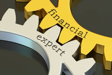 Financial Expert concept on the gearwheels, 3D rendering