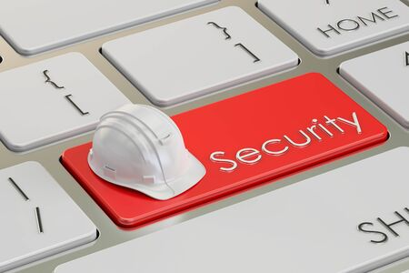 red button: Engineering security concept on keyboard button, 3D rendering