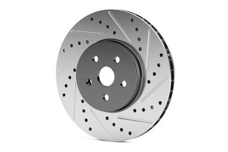 rotor: Car disc brake rotor, 3D rendering isolated on white background Stock Photo