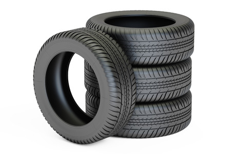 Stack of automobile tires, 3D rendering isolated on white background