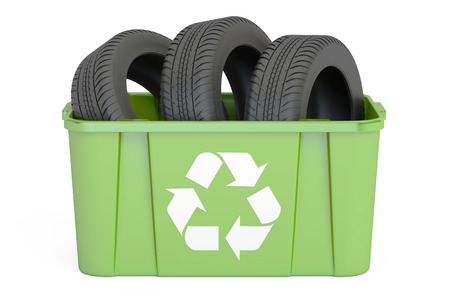 recycling trashcan with tyres of car, 3D rendering isolated on white background
