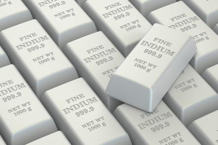 indium: Indium ingots background, 3D rendering isolated on white background