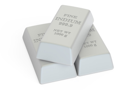 indium: Indium ingots, 3D rendering isolated on white background Stock Photo