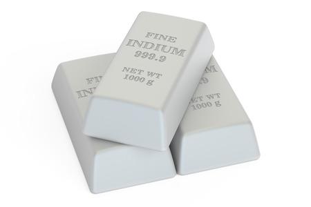 indium: Indium ingots, 3D rendering isolated on white background Stock Photo