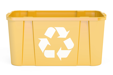 dumpster: Yellow recycling bin, 3D rendering isolated on white background Stock Photo