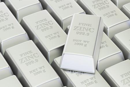 ingots: Zinc bars background, 3D rendering isolated on white background