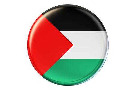Badge with flag of Palestine, 3D rendering  isolated on white background