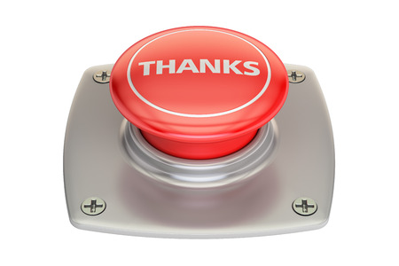 Thanks red button, 3D rendering isolated on white background