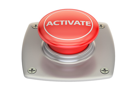 Activate red button, 3D rendering isolated on white background