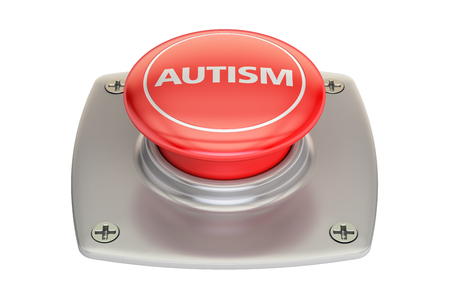 Autism red button, 3D rendering isolated on white background