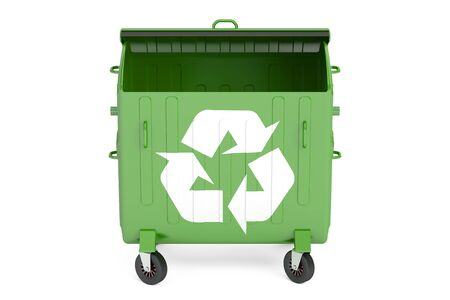 garbage container: opened green garbage container, 3D rendering