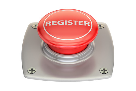 Register Red button, 3D rendering isolated on white background