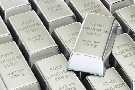 rhodium ingots background, 3D rendering isolated on white background Stock Photo