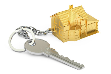 House key with keychain, 3D rendering isolated on white background