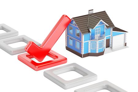 Home choice concept with check mark, 3D rendering isolated on white background