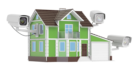 Security CCTV cameras on the house, 3D rendering