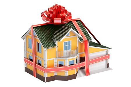 House gift. Mansion with ribbon and bow, 3D rendering isolated on white background