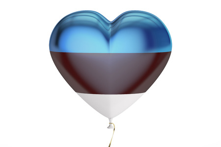 balloon with Estonia flag in the shape of heart, 3D rendering