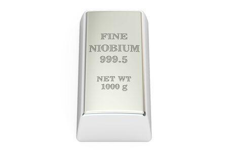 niobium: niobium ingot, 3D rendering isolated on white background Stock Photo