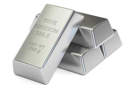 rhodium ingots close-up, 3D-rendering op een witte achtergrond Stockfoto