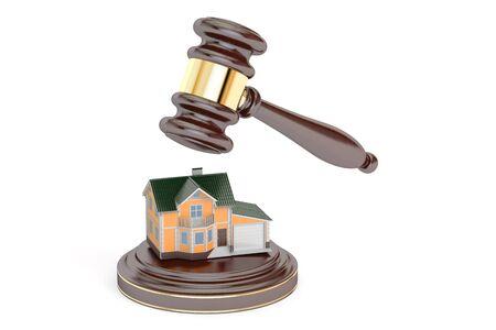 House auction concept, 3D rendering