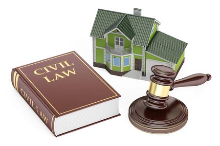 Civil law concept, house with gavel and book. 3D rendering isolated on white background
