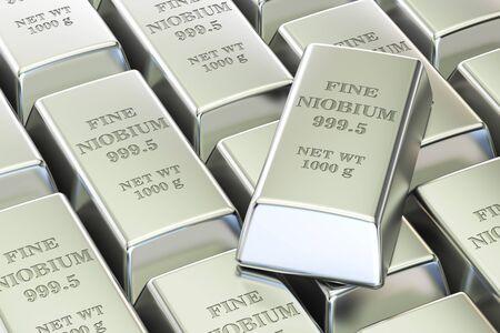 niobium: niobium ingots background, 3D rendering