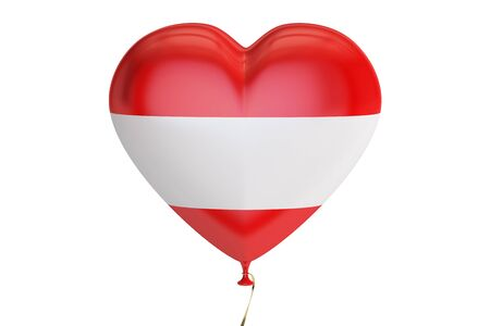 austria flag: balloon with Austria flag in the shape of heart, 3D rendering