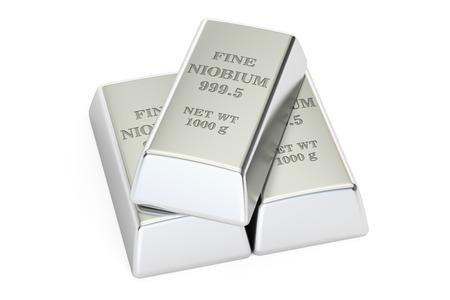 niobium: set of niobium ingots, 3D rendering isolated on white background