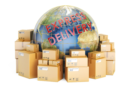 Express delivery and global shipping concept, 3D rendering isolated on white background