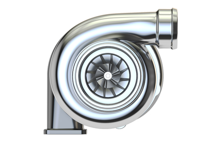 Car turbocharger, 3D rendering isolated on white background Stock Photo