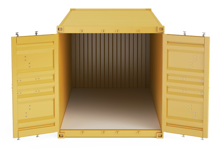 orange opened empty cargo container, front view. 3D rendering isolated on white background Stock Photo