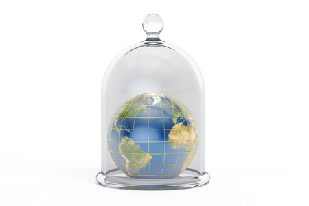 Earth covered by glass bell. Conservation and protection concept, 3D rendering isolated on white background