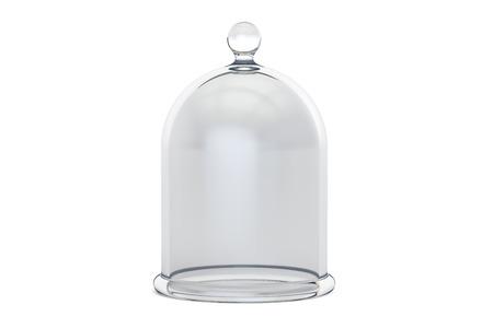 Glasglocke oder Glasglocke, 3D-Rendering auf weißem Hintergrund