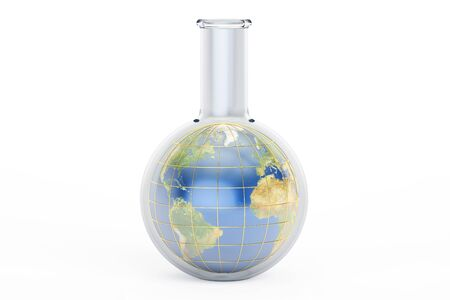 Flask with Earth planet inside, 3D rendering