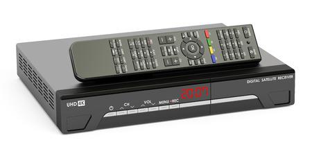 iptv: Digital satellite receiver with remote control, 3D rendering Stock Photo