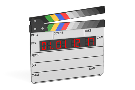 shutting: Digital movie clapper board, 3D rendering isolated on white background