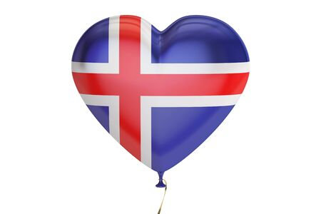 balloon with Iceland flag in the shape of heart, 3D rendering Stock Photo