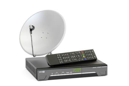 iptv: Digital satellite receiver with satellite dish, telecommunications concept. 3D rendering Stock Photo