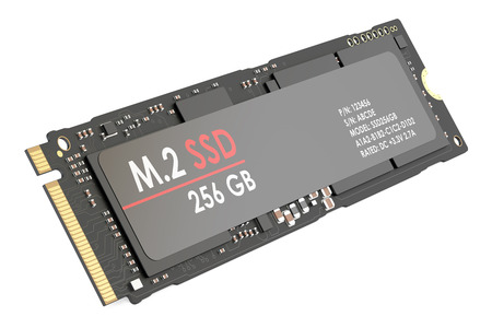 m.2 SSD 256 gb, 3D rendering isolated on white background