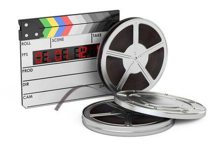 白い背景に分離された映画、撮影、映画制作コンセプトの 3 D レンダリング