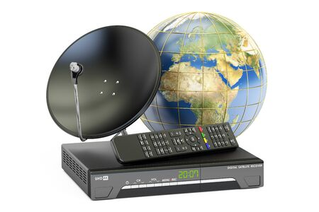 iptv: Global telecommunications concept. Digital satellite receiver with satellite dish and globe Earth, 3D rendering