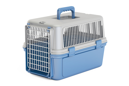 blue plastic pet carrier, 3D rendering isolated on white background